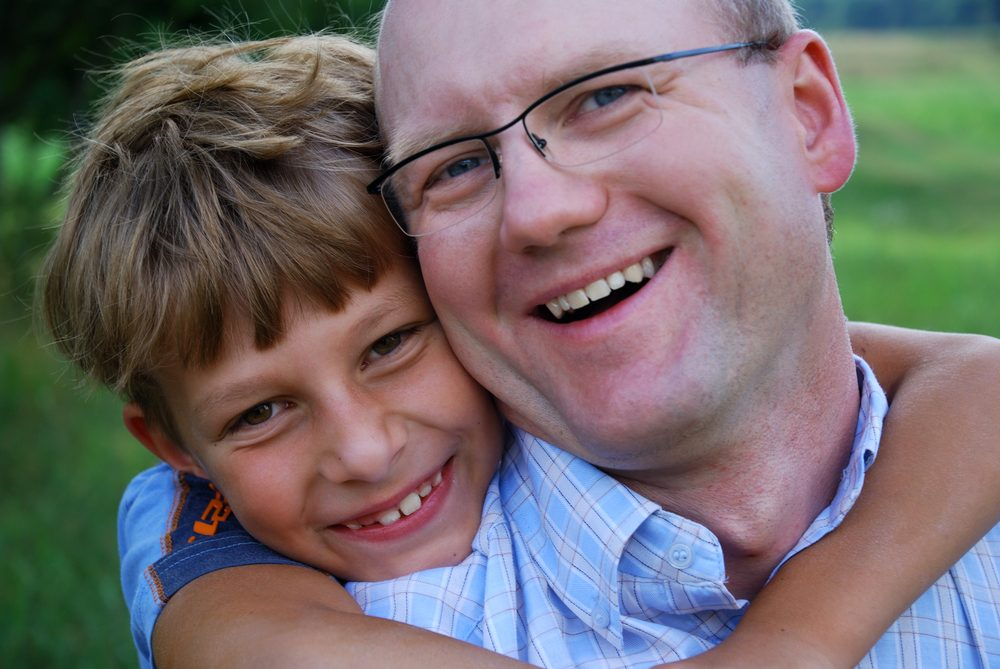 Father and son happy together